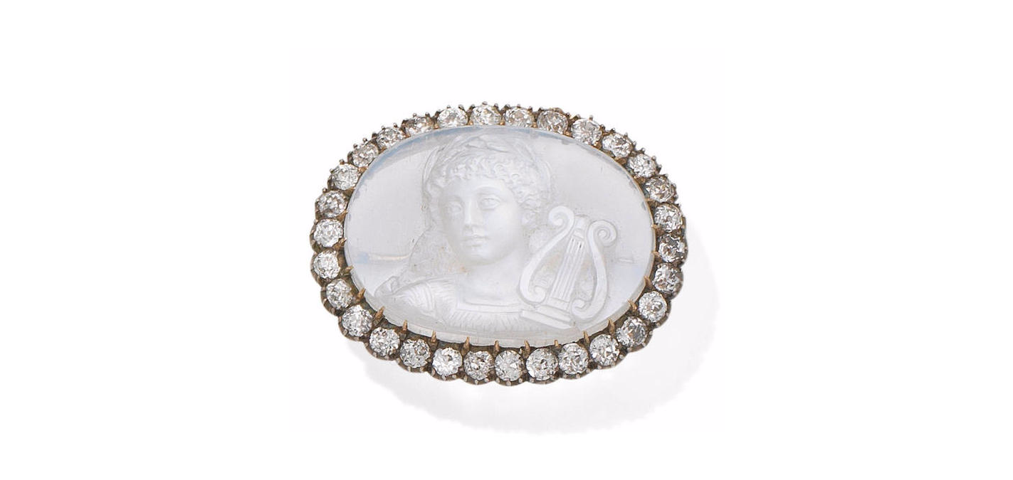 Moonstone and Diamond Cameo Brooch