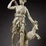 Artemis statue with deer