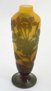 Pale Brown Cameo vase by Galle