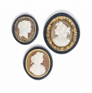 Three late nineteenth century shell cameo brooches