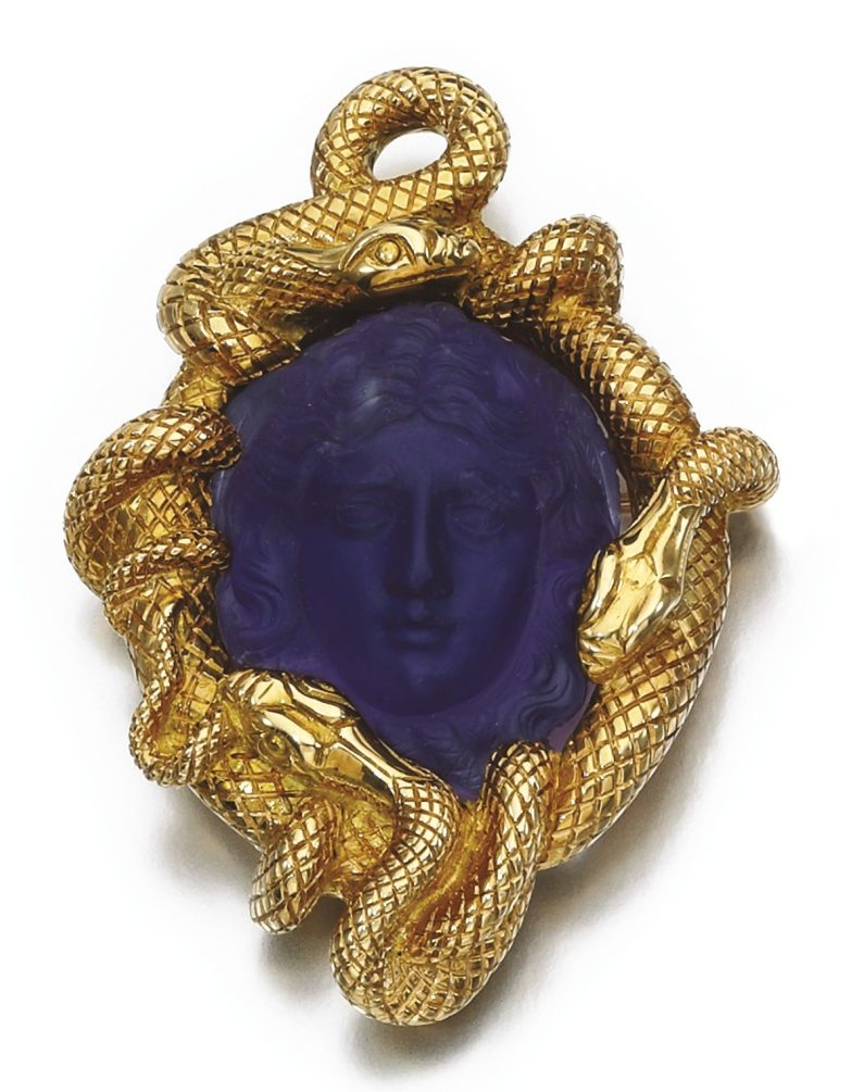 Amethyst Cameo Brooch Pendant Late 19th Century Antique
