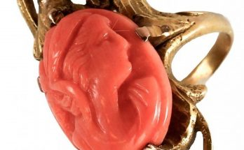 Victorian 14k Gold Coral Carved Cameo Ring