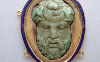 Turquoise cameo of Bacchus