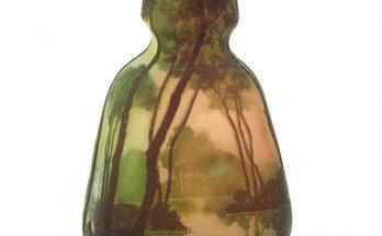 Legras Acid-Etched Triple Cameo Glass Landscape Vase