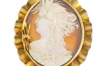 A mid Victorian 15ct gold cameo brooch. Carved to depict Demeter in profile