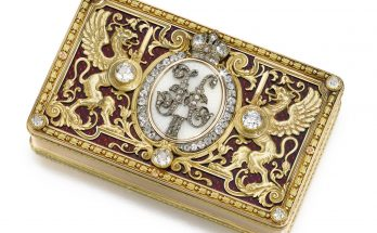 An Imperial Presentation Fabergé jewelled gold and enamel box, workmaster Michael Perchin, St Petersburg, 1897