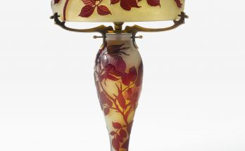 Émile Gallé TABLE LAMP shade and base each signed gallé in cameo