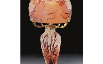 A Legras cameo glass lamp and shade, early 20th century