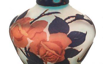 Muller Frères Acid-Etched Triple Cameo Red Roses Glass Vase