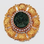 Etruscan Revival Gold, Green Hardstone Cameo and Split Pearl Brooch