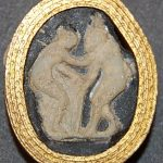Cameo of glass paste imitating sardonyx, engraved with a satyr about to embrace a nymph