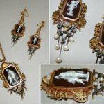 Victorian Sardonyx Cameo Pendant and Earring Set