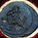 Cameo of transparent blue glass paste, engraved with a youthful satyr