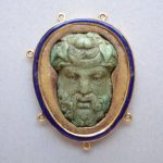 Cameo; turquoise; bearded head of Bacchus to front